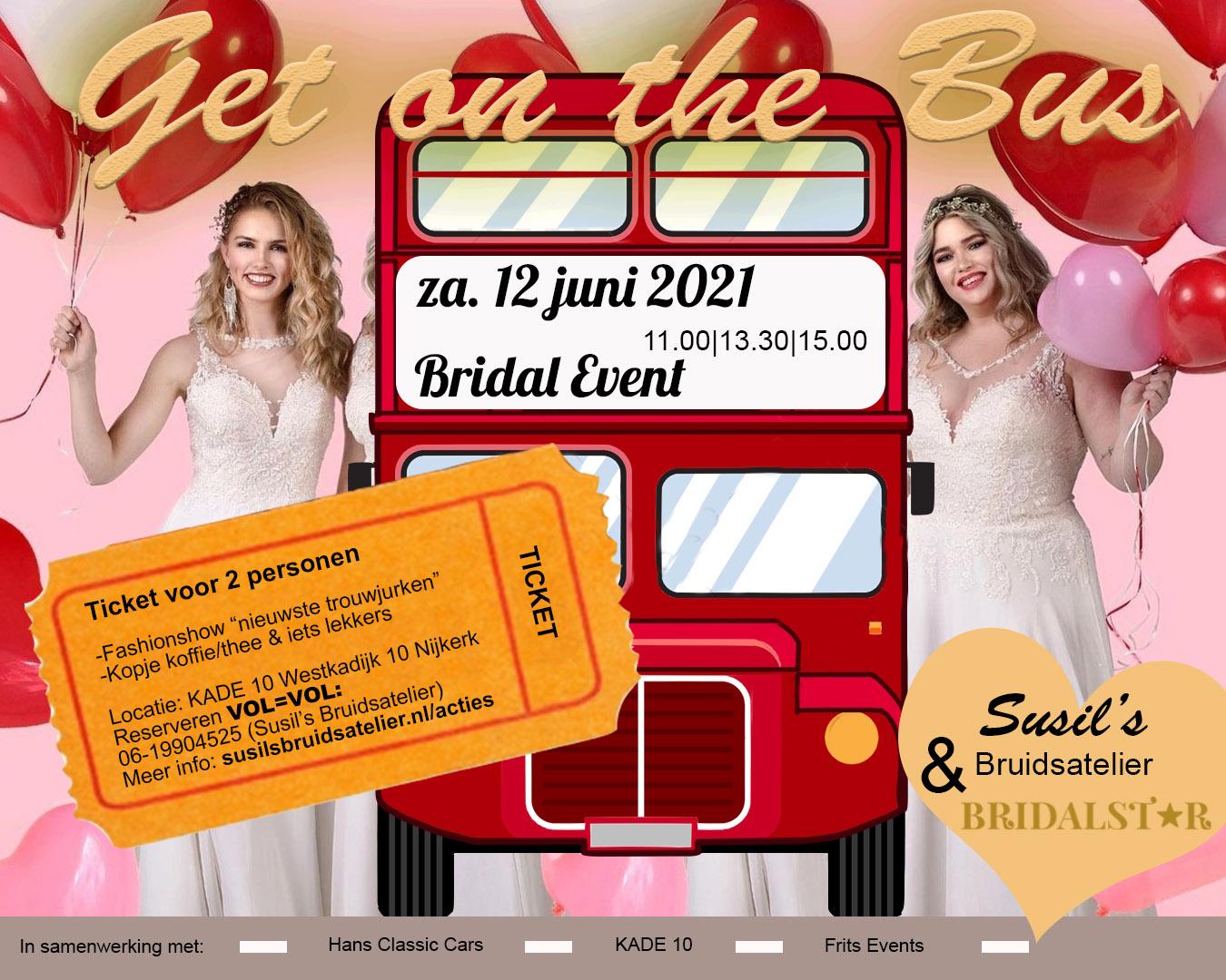 trouwjurken bruidsshow bus